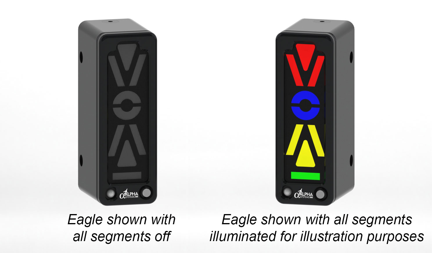 Alpha Systems AOA Eagle Angle of Attack Indicator on a Swivel Mount with Lights On and Off